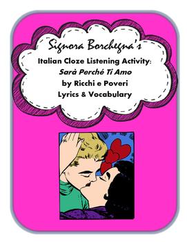 Sara' Perche' Ti Amo: Italian Cloze Song Activity and Questions