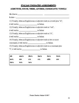 Italian Cognates Assessments Booklet: Cumulative