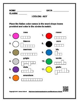 Italian Color Vocabulary Box Activity