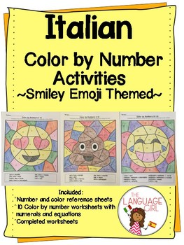 Italian Color by Numbers Emoji Themed