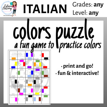 photo regarding Printable Colors known as Printable Shades Puzzle Recreation - Italian
