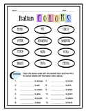 Italian Colors Worksheet Packet