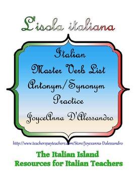 Italian Common Verb Synonym & Antonym Practice