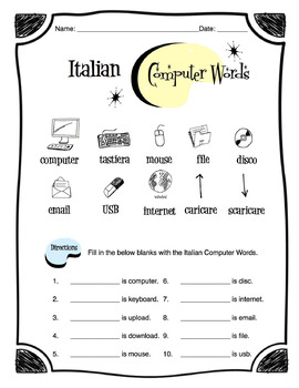 Italian Computer and Tech Words Worksheet Packet
