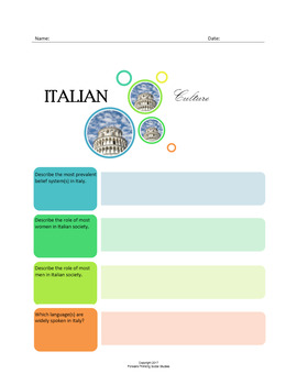 Italian Culture:  A Fillable Fact-Finding Sheet
