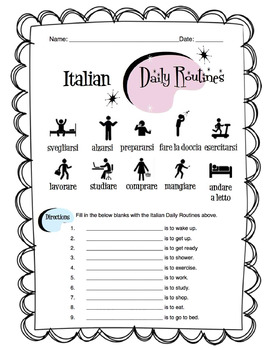 Italian Daily Routines Worksheet Packet