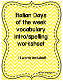 Italian Days of the Week Spelling/Vocab Intro worksheet