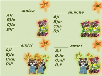 Italian:Task Cards Definite Articles