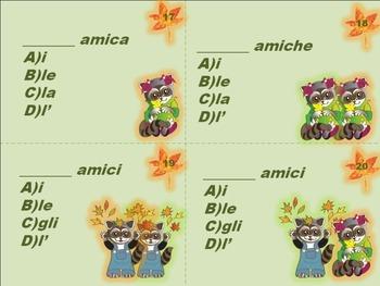 Italian Task Cards: Definite Articles