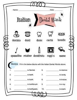 Italian Dental Words Worksheet Packet