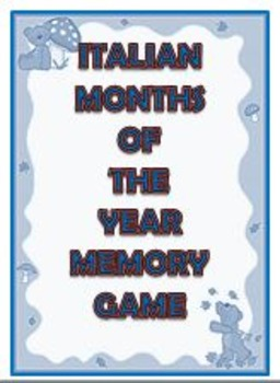 Italian/English Months of the Year Memory Game