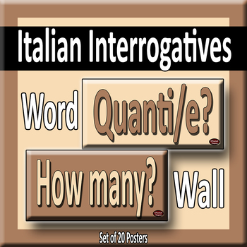 Italian & English Question Words/Interrogatives Word Wall Posters