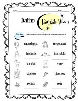 Italian Fairytale Words Worksheet Packet