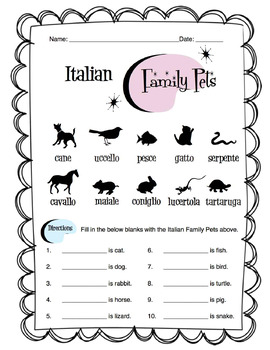 Italian Family Pets Worksheet Packet
