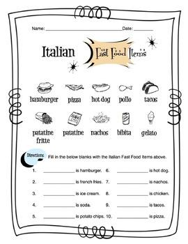 Italian Fast Food Worksheet Packet