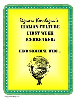 Italian First Week Scavenger Hunt / Find Someone Who