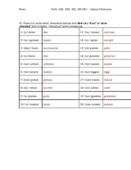 Italian Flipped Classroom -ARE, -ERE, -IRE, -IRE (ISC) Verbs