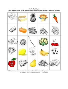 Italian Food Picture Bingo