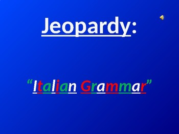 Italian Grammar Jeopardy Game