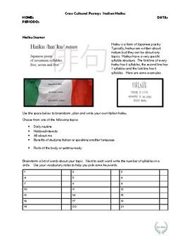 Italian Haiku Activity - All about Me.