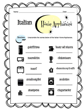 Italian Home Appliances Worksheet Packet