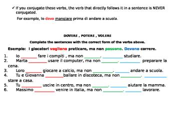 Italian II irregular verbs