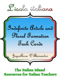Italian Indefinite article and Forming Plurals Task Cards