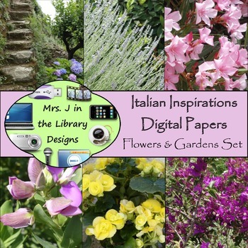 Italian Inspirations Digital Papers: Flowers & Gardens Set