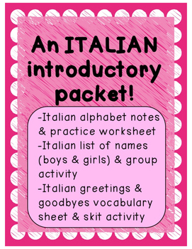 Italian Introductory Packet A (Alphabet/Italian names/Gree