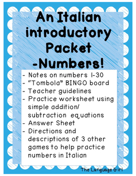 Italian Introductory Packet B - Numbers