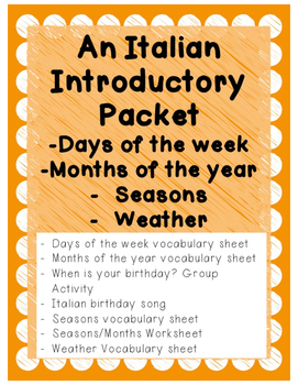 Italian Introductory Packet D - Days/Months/Weather/Seasons
