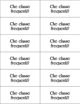 Italian Introductory Vocabulary Conversation Cards