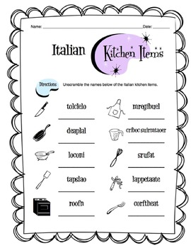 Italian Kitchen Items Worksheet Packet