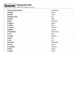 Italian Language Resource Kit: Thanksgiving (Ringraziamento)