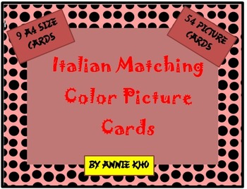 Italian Matching Color Picture Cards