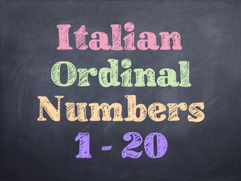 Italian Math Ordinal Numbers PowerPoint