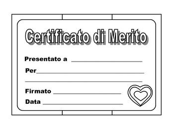 Italian   Merit Certificates