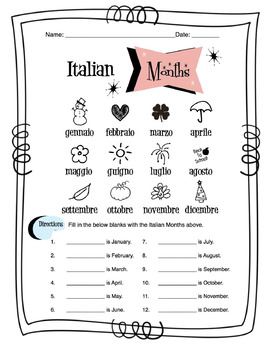 Italian Months Of The Year Worksheet Packet
