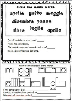 Italian Months of the Year Matching Word Game and Worksheets