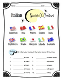 Italian Names of Countries Worksheet Packet