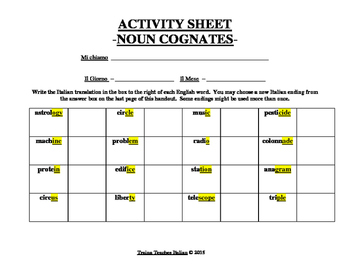 Italian Made Simple: English to Italian Noun Cognates Activity Sheet