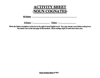Italian Made Simple: English to Italian Noun Cognates Activity Sheet