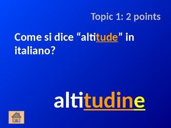 Italian Noun Cognates: Part 1 - Jeopardy Game