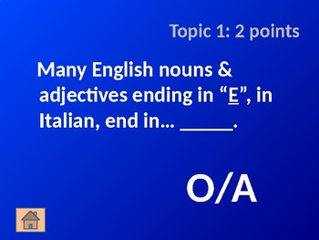 Italian Noun and Adjective Cognates - Jeopardy Game