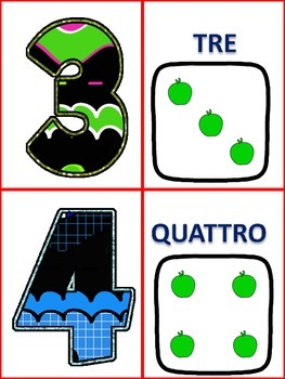 Italian Number Cards 0-20