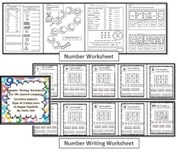 Italian/English Number - Poster, Matching Game and Worksheets