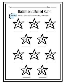 Italian Numbers 1-10 Worksheet