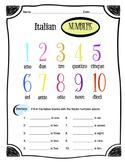 Italian Numbers 1-10 Worksheet Packet