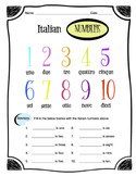Italian Numbers 1-10 Worksheet Packet