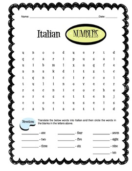 Italian Numbers 1-10 Worksheet Packet by Sunny Side Up Resources